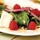 Spinach, Raspberry and Brie Salad with Balsamic Maple Vinaigrette