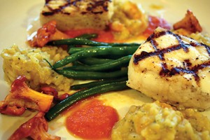 Grilled, Brined Halibut with Fresh Herb Butter