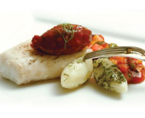 "Roasted Cod  with Warm Tomato Dill ""Jam"""