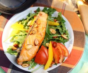Seared Salmon and Arugula Salad with Maple Vinaigrette