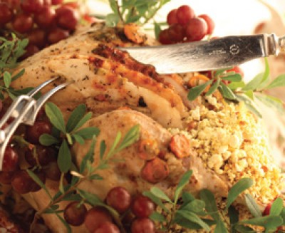 Braised Turkey with Popcorn Stuffing