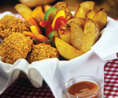 Crispy Chicken and Potatoes with Dipping Sauce