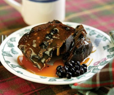 Blueberry Figgy Duff with Warm Molasses Rum Sauce